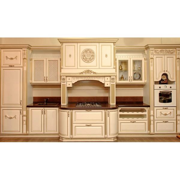 """Кухня из дерева """"Фиеста"""" белая с порталом на заказ"""