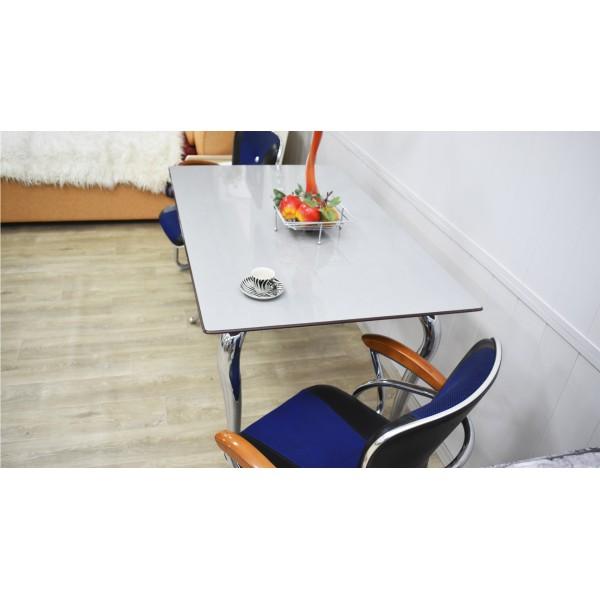 Стол кухонный Д-01 Титан пластик на каленом стекле 1300*800*790, технология Calligaris