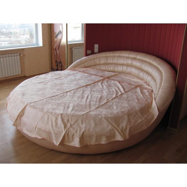 """Кровать круглая """"Белиссимо"""" кожаная крем..."""