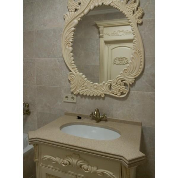 Гарнитур для ванной из дерева  Альтаир классика сливочный