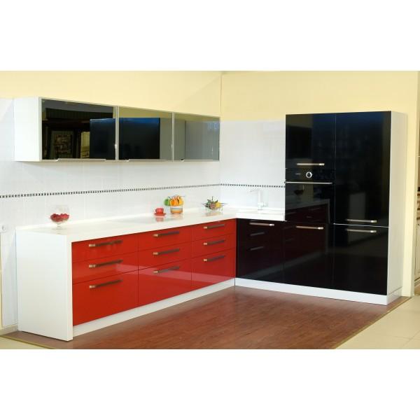 """Кухня пластик """"Black red white"""" Pelilam HPL глянец камень Hanex"""